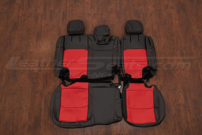 Jeep Wrangler Leather Kit - Black & Bright Red - Rear seat upholstery