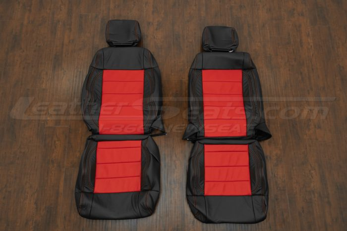 07-10 Jeep Wrangler Upholstery Kit - Black / Bright Red - Front seat upholstery