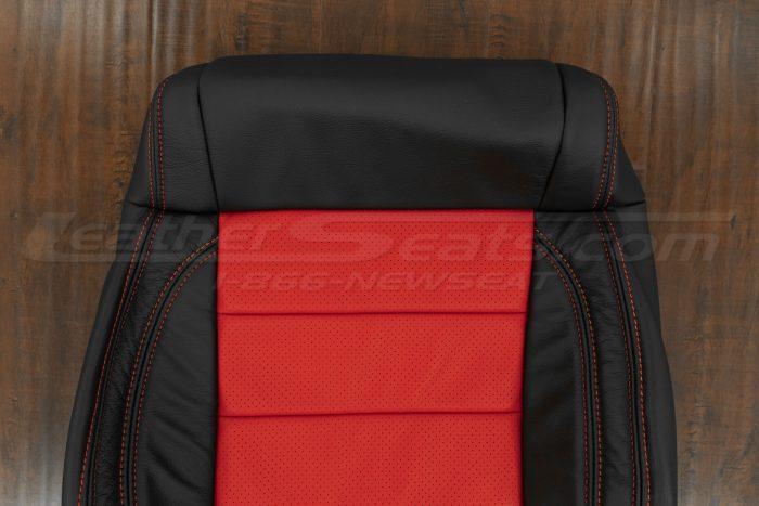 07-10 Jeep Wrangler Upholstery Kit - Black / Bright Red - Upper section of front backrest