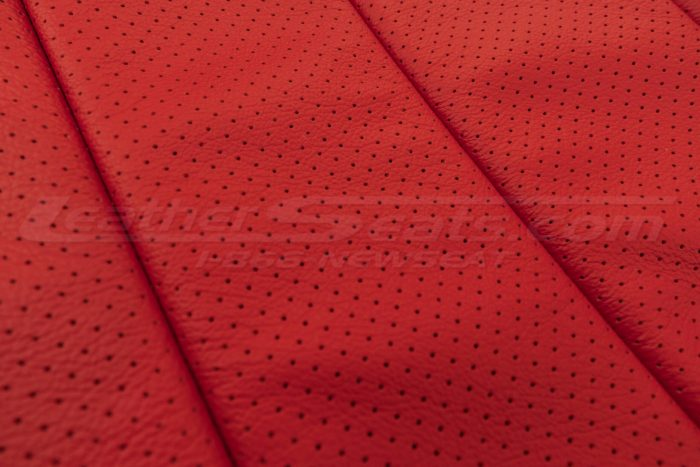 07-10 Jeep Wrangler Upholstery Kit - Black / Bright Red - Perforation close-up
