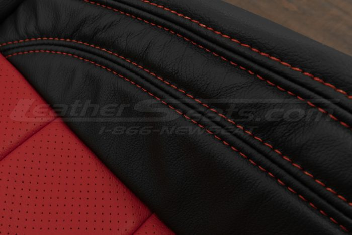 07-10 Jeep Wrangler Upholstery Kit - Black / Bright Red - Double-stitching close-up